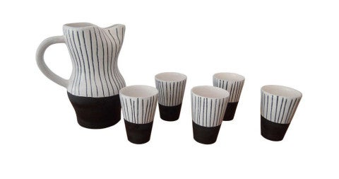Jacques Innocenti Vallauris ceramic drinking set, 1950s, offered by Galerie Sandy Toupenet