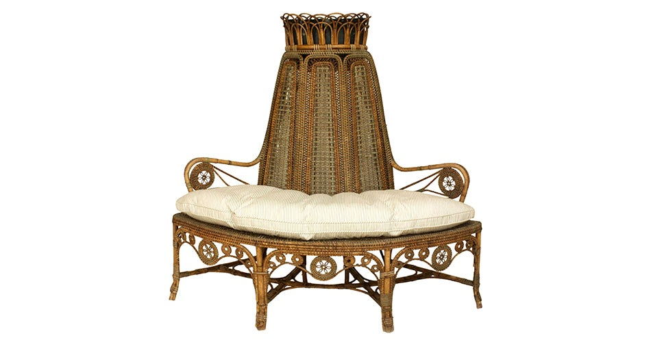 perret et vibert wicker corner loveseat 19th century offered by newel llc - Celerie Kemble Furniture