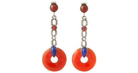 Carnelian drop earrings, ca. 1910, offered by James Robinson, Inc.