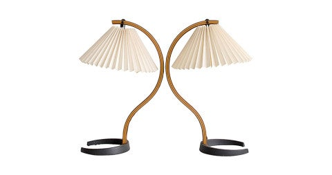 Caprani iron and plywood table lamps, 1970s, offered by Just In Modern