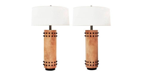 Leather-wrapped French table lamps with bronze spikes, 1940s, offered by Lobel Modern
