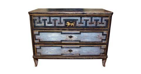 Continental painted chest of drawers, early 19th century, offered by L'Antiquaire
