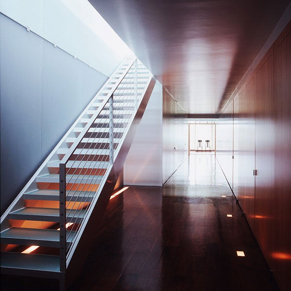 "This sleek hallway is from an upstate New York house designed by Thomas Pfifer. ""A photograph of an interior atempts to distill the essence of a space in two dimensions,"" Waldron explains."