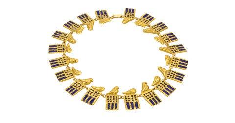 Line Vautrin Ramses bronze doré and enamel necklace, ca. 1955, offered by Maison Gerard