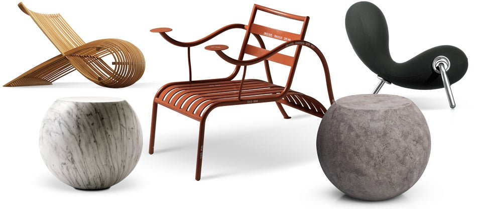 Clockwise From Top Left: Marc Newsonu0027s Wooden Chair, 1982, In Bent  Natural Beech Heartwood; Jasper Morrisonu0027s Thinking Manu0027s Chair In  Varnished Metal, 1988; ...