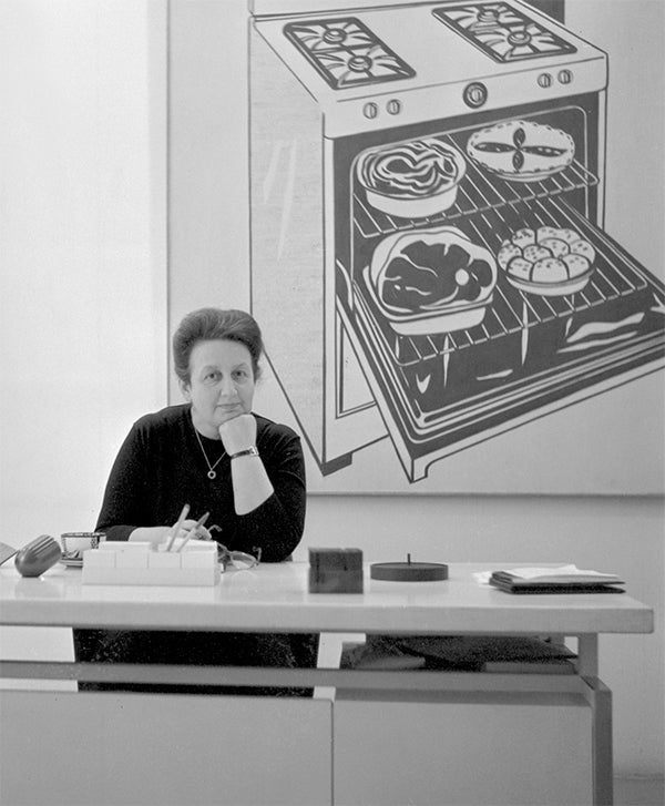 Sonnabend at her desk in her Paris gallery, ca. 1965 (courtesy Sonnabend Gallery, New York). Right: A 1973 silkscreen of the dealer created by Andy Warhol (image © 2013 Andy Warhol Foundation for the Visual Arts / Artists Rights Society (ARS), New York)