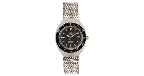 Stainless steel Omega Seamaster with shark-mesh band, 1960s, offered by Foundwell
