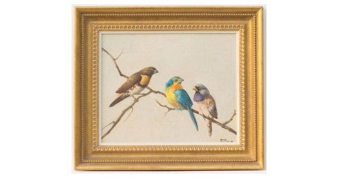 <i>Finches on a Branch,</i> 1950, by Honore Theodore Camos, offered by Heritage Fine Art