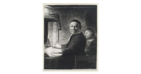 <i>Lieven Willemsz van Coppenol, Writing-Master: The Smaller Plate,</i> ca. 1658, by Rembrandt, offered by Christopher Clark Fine Art
