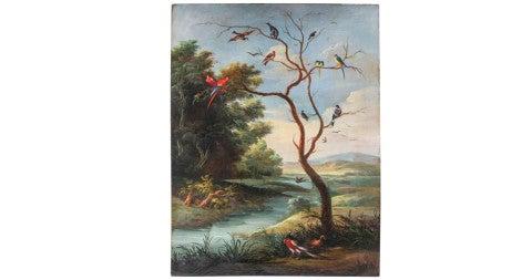 Landscape with birds, 1790, attributed to Jan van Kassel, offered by Verdini C Antichita