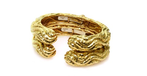Pair of David Webb textured gold bangle bracelets, 1980s, offered by M&G Signed Jewelry
