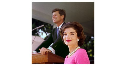 <i>Jacqueline Kennedy in Pink Dress,</i> by Mark Shaw, offered by Liz O'Brien