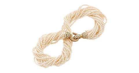 Cartier cultured-pearl torsade necklace, ca. 1990, offered by RAF