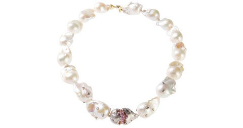 Baroque-pearl necklace with gold rondel and pink sapphires, 2014, offered by Stambolian
