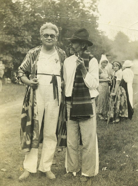 Robert Winthrop Chanler in Woodstock, New York, in 1924 with writer Hervey White, whose radical artists' colony, the Maverick, Chanler belonged to in the early 1920s.