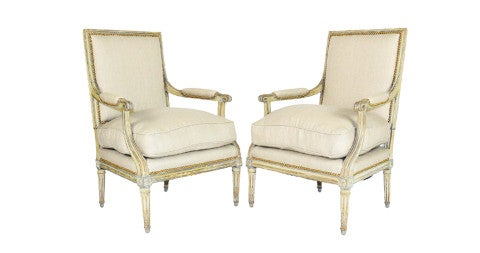 Pair of Louis XVI bergères, 18th century, offered by Delray & Associates Antiques LLC