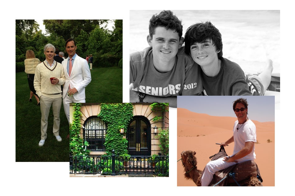 Clockwise from left: Hedges with his partner, Tom Delavan, at the 50th birthday party of Vogue's Hamish Bowles, held at the home of Anna Wintour; Hedges' two sons, Evans and Malone; traveling through Tunisiathe leafy exterior of his Greenwich Village town house