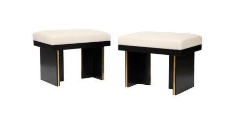 Pair of Art Deco–style stools, 1970s, offered by Marie Battaglini Gallery New York