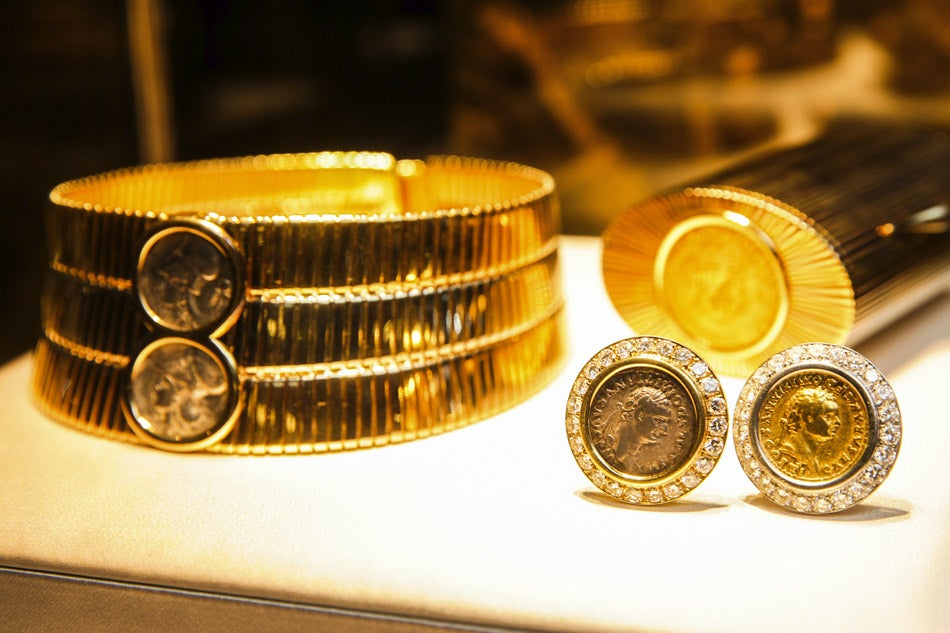 among the pieces artfully displayed in new york are a twotone gold tubogas choker with ancient coins 1980s and earrings in gold with roman republican
