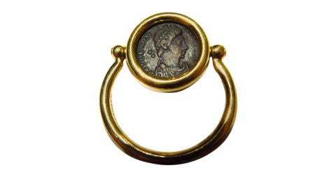 Ancient-coin flip ring, offered by Patti Esbia