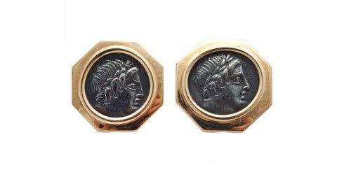 Ancient-coin ear clips, offered by Boncompagni Sturni