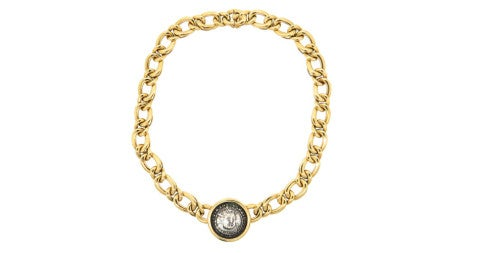 Monete gold necklace with Henry VIII coin, offered by Oak Gem