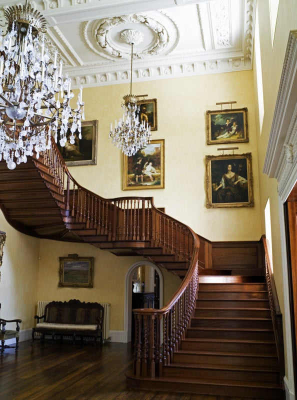 From left: Elaborate plasterwork lends an old-world look to a newly built house in Scotland; the decorator with her horse, Bertie (photo by John Millar)
