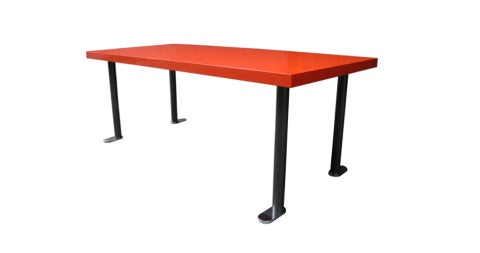 French Red Lacquered Dining Table, 1960s