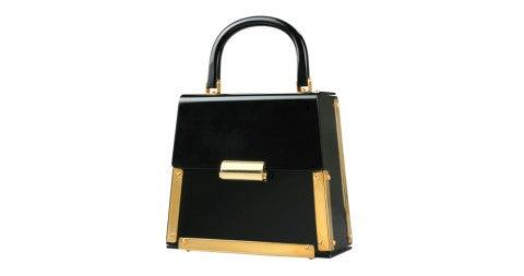 Architectural black lucite handbag, offered by Douglas Rosin