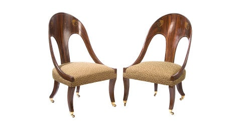 English Regency spoonback chairs, offered by George Subkoff Antiques, Inc.