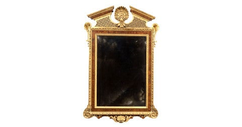 Walnut and parcel-gilt mirror, offered by Clinton Howell Antiques