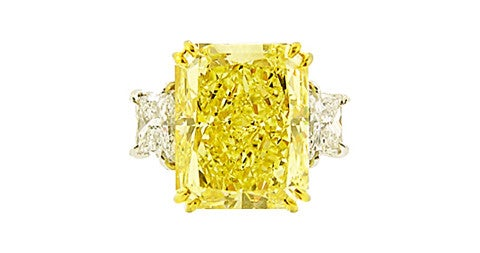 Ten-carat, natural canary-yellow, radiant-cut diamond ring, 2014, offered by Moboco