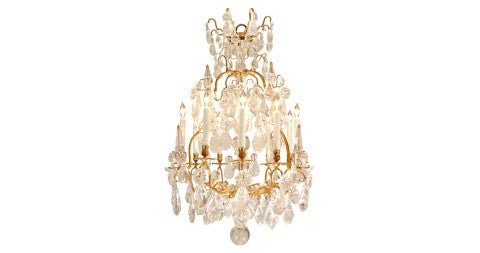 Louis XV–period rock-crystal and ormolu chandelier, mid-18th century, offered by Cedric Dupont Antiques