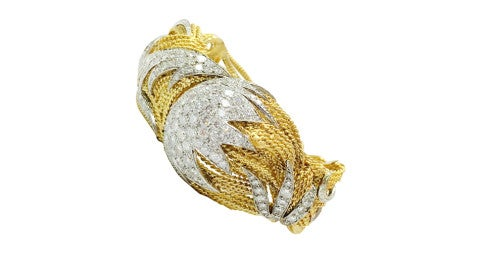 Diamond and gold bangle bracelet, 1970s, offered by Classic Collections