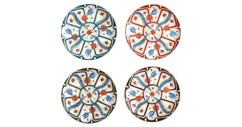 Set of eight Cabana dinner plates with Iznik floral motifs, by Laboratorio Paravicini