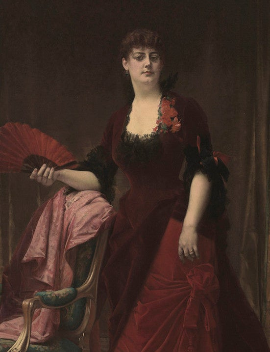 Last month, Manhattan's Metropolitan Museum of Art unveiled the wildly ornate Aesthetic Movement dressing room of the courtesan Arabella Worsham, depicted here in an 1882 portrait by Alexandre Cabanel (courtesy Fine Arts Museums of San Francisco, Gift of Archer M. Huntington, 1940). Top: A detail of the room's frieze, hand-painted by Italian-born artist Domenico Tojetti