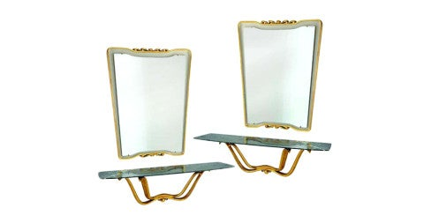 Pair of Osvaldo Borsani hall consoles and mirrors, 1946, offered by BG Galleries