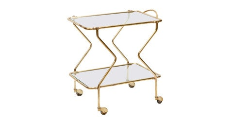 Brass bar cart, ca. 1950, offered by Area iD