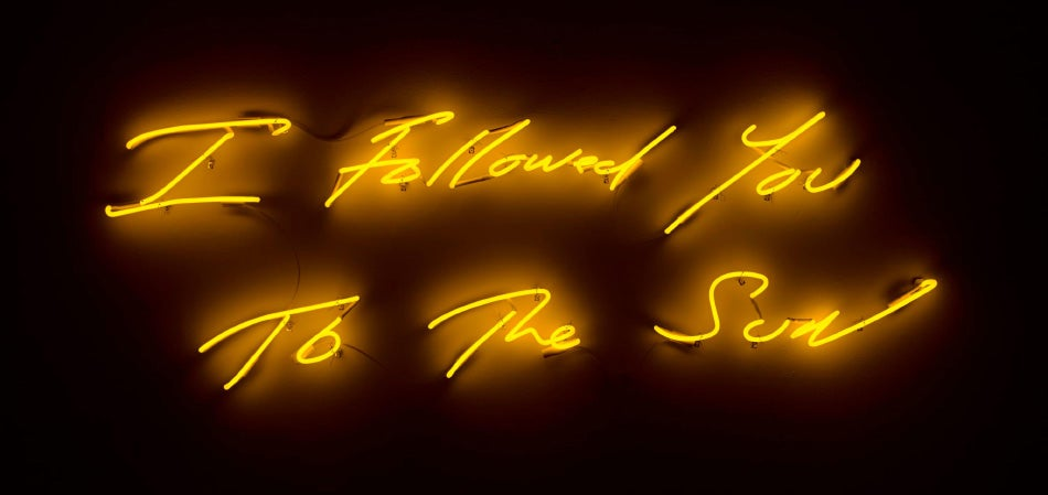 A recent neon work from which the exhibition takes its name.