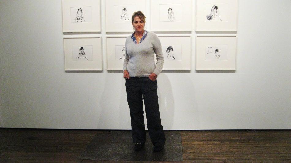 Emin at her exhibit's installation. Photo by Carol Kino
