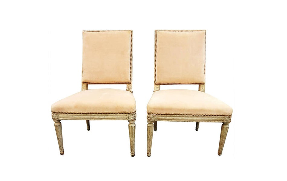 Pair Of Painted Side Chairs From The Collection Cole Porter 18th Century Offered By David Bell