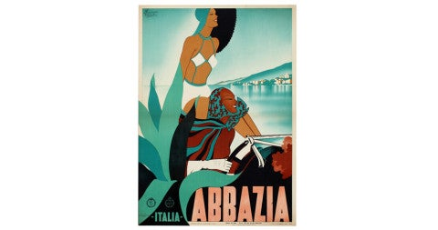 Art Deco Abbazia travel poster, 1938, by M. Romoli
