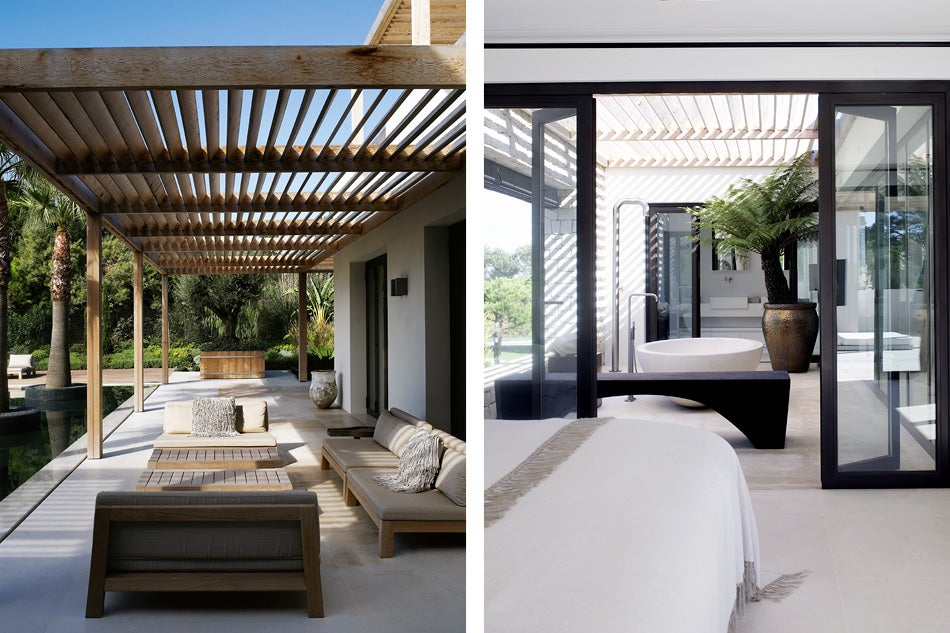 Left: Sitting On The Pool Terrace Are A GIJS Loveseat And ANNET Table, From  The Piet Boon Collection Of Outdoor Furniture. Right: In One Of The Villau0027s  ...