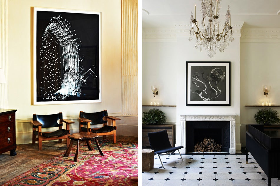Left: A vignette in the corner of Uniacke's study shows off a Sigmar Polke painting, Børge Mogensen chairs and an early Mughal carpet. Right: Like the rest of the Jo Malone spaces, the reception room feels entirely residential.