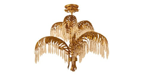 Maison Bagues leaf chandelier, 1930s, offered by Barbarella Home