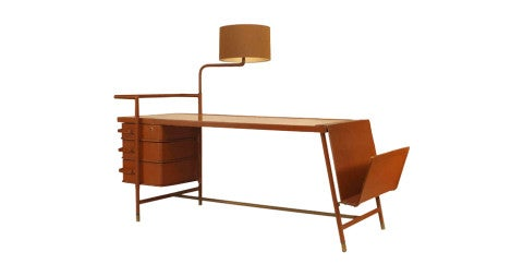 Hinged-lamp desk attributed to Jacques Adnet, 1940s, offered by Newel
