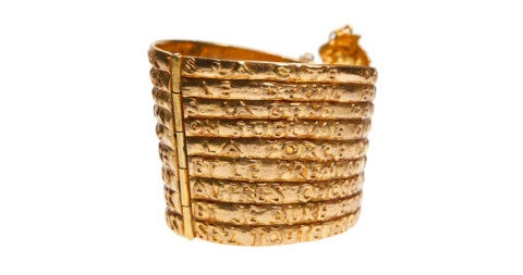 Line Vautrin Dante gilded-bronze bracelet, ca. 1940, offered by Collectors Gallery