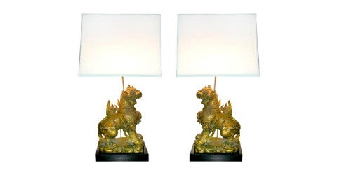 Pair of Mid-Century James Mont Foo Dog Lamps