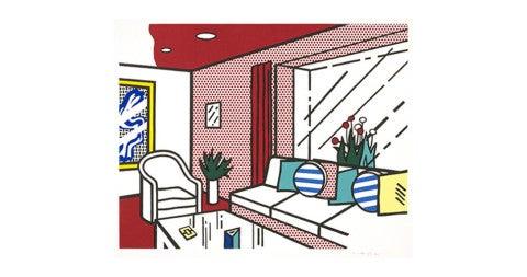 <em>Living Room</em>, 1990, by Roy Lichtenstein, offered by Susan Sheehan Gallery