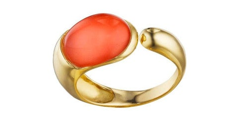 Gocce coral and gold ring